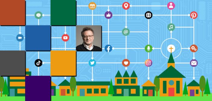 Graphic showing a church's digital network sharing with and influencing the neighborhood
