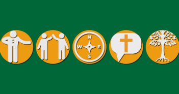 Icons representing hospitality, relationships, integrity, sharing the Christian message, and rootedness in the church