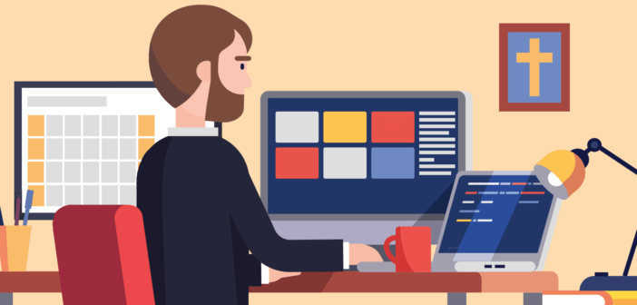 Person in office working with computers