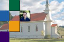 Photos of a rural church and Allan Stanton
